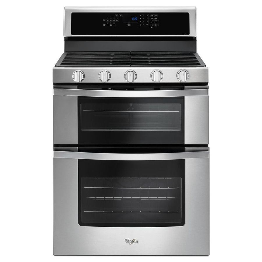 Whirlpool 30 In 5 Burner 3 9 Cu Ft 2 1 Cu Ft Self Cleaning Double Oven Convection Gas Range Stainless Gas Range Double Oven Gas Double Oven Double Oven Range