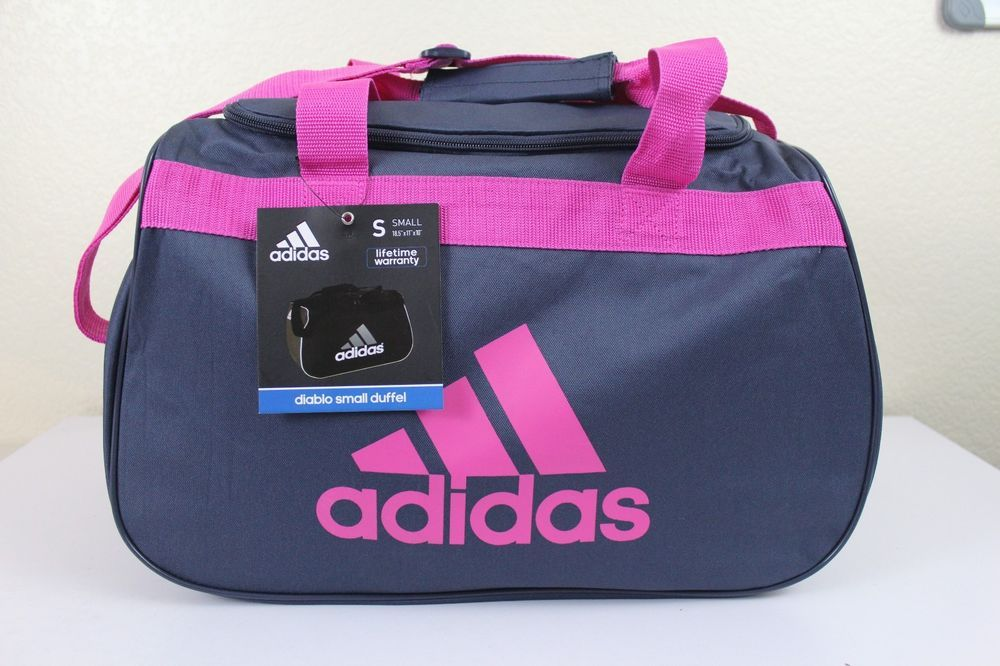 adidas pink gray grey diablo small med duffel bag luggage. Black Bedroom Furniture Sets. Home Design Ideas