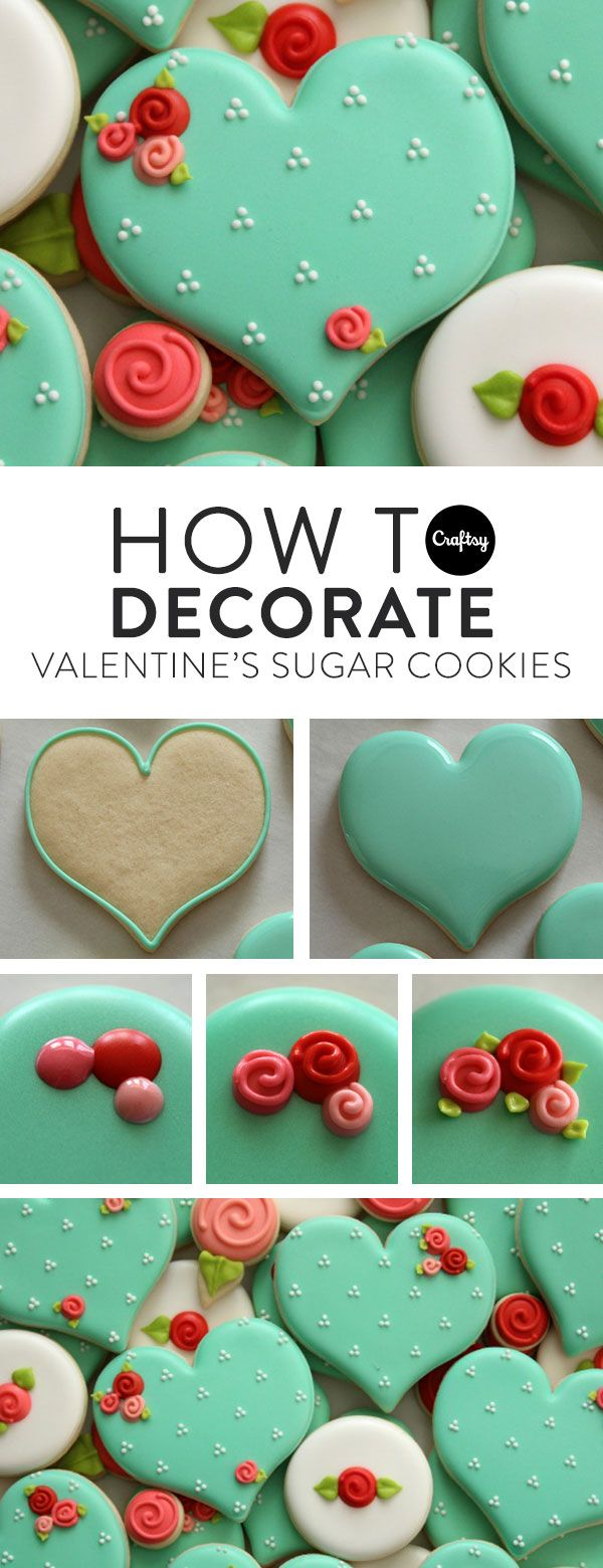 How to Make Decorated Valentine Sugar Cookies on Craftsy #sugarcookies