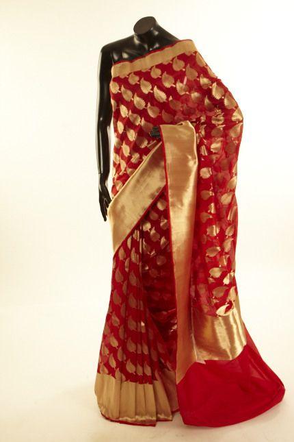 5bd8fbef3c3050 Banarsi- silk blood red saree with blouse