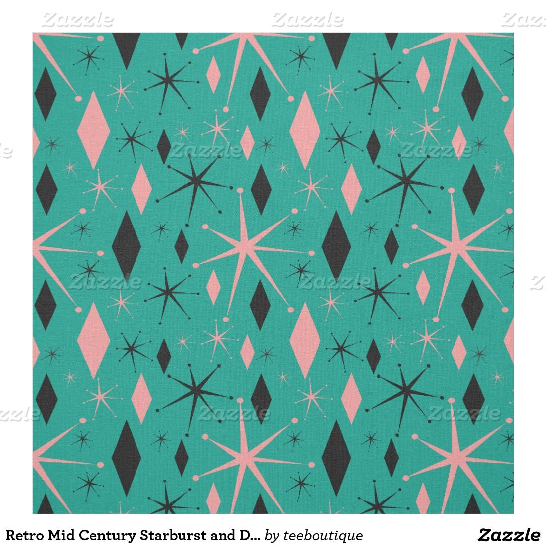 Retro Mid Century Starburst and Diamonds Fabric Pattern