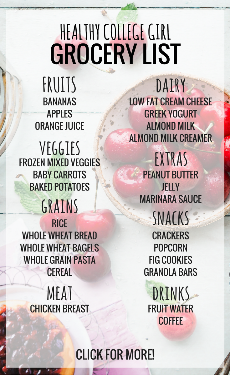Eating Healthy On A College Budget Can Be Hard This Grocery List Is Perfect For Dorms And Apartments