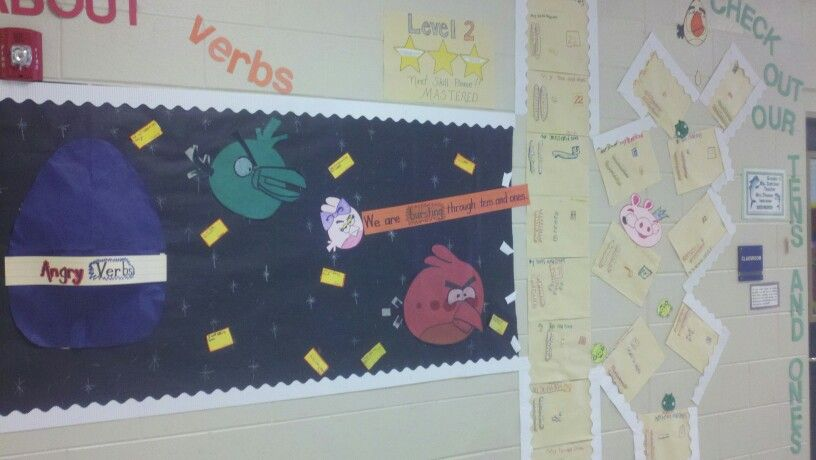 Bullentin board on verbs and place value