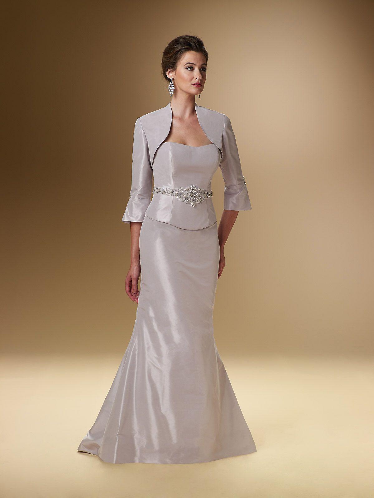 Wedding dresses for grandmother of the groom  SheathColumn Strapless Floorlength Taffeta Mother of the Bride