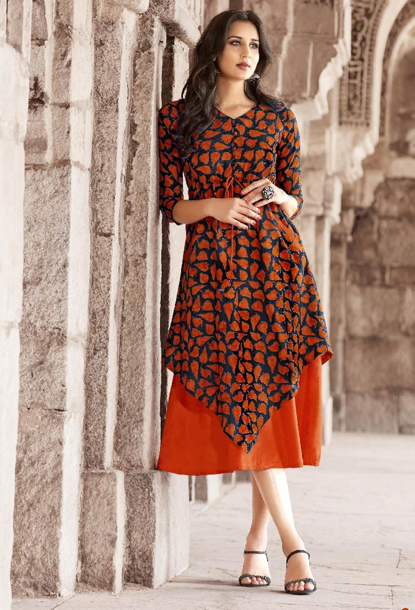 e3e92b4f51 Readymade Orange Cotton Designer Printed Kurti #kurti #ladiestops  #cottonkurti #kurtionline #longkurti #minidress #dress #onlineindiandress # sale#nikvik ...