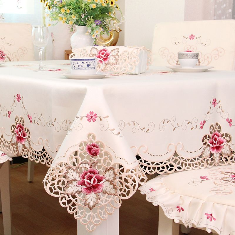 Xt European Pastorol Luxury Fabric Table Cloth Embroidered Tablecloth Round Square Table Seat Chair Cover Floral Tablecloth Lace Tablecloth Wedding Lace Table