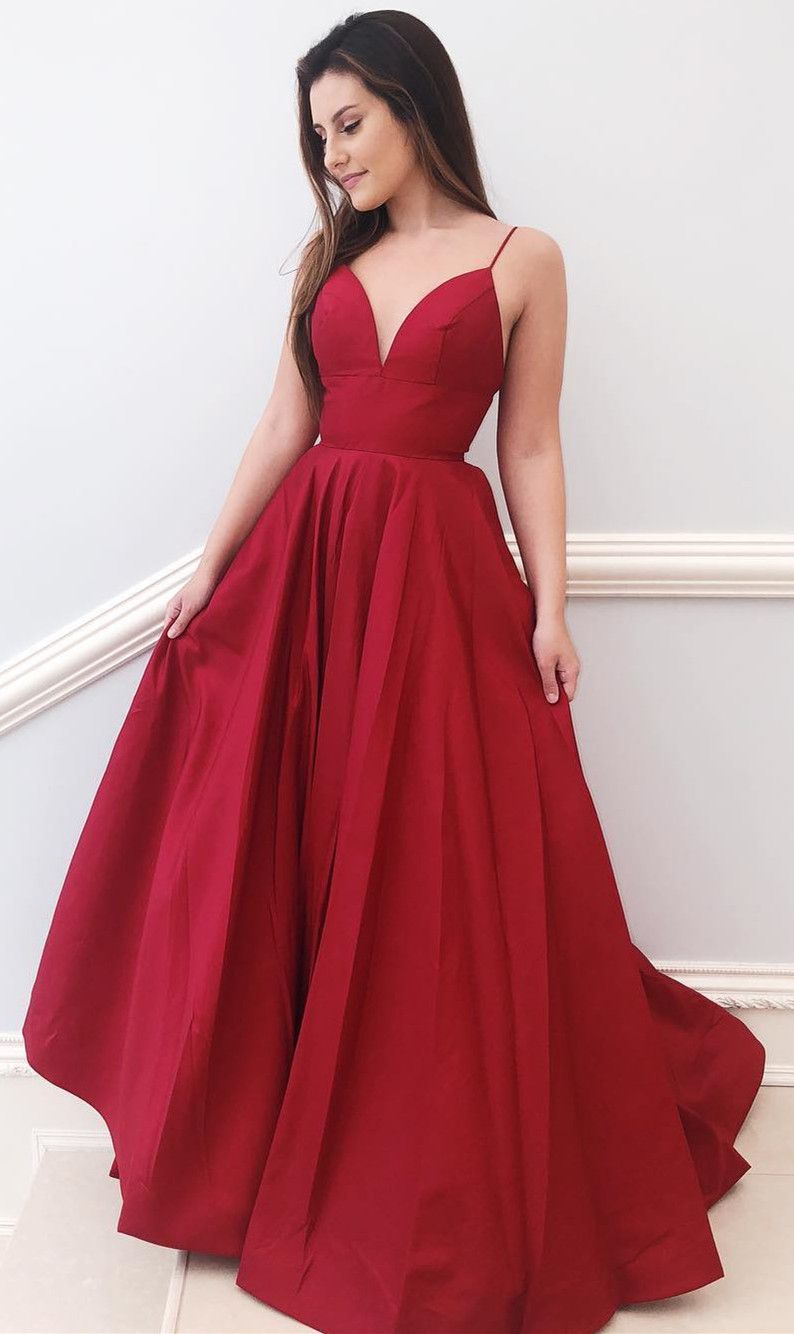 Simple Straps Aline Red Long Prom Dress in Formal Dresses