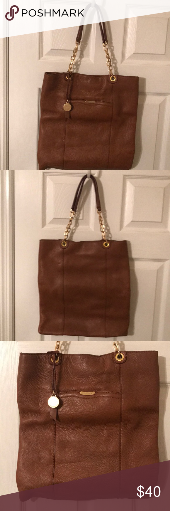 """T Tahari cognac leather tote Beautiful T Tahari cognac tote. Great condition. A couple indentions on the front where it has been stored. 15"""" tall x 14"""" wide. T Tahari Bags Totes"""