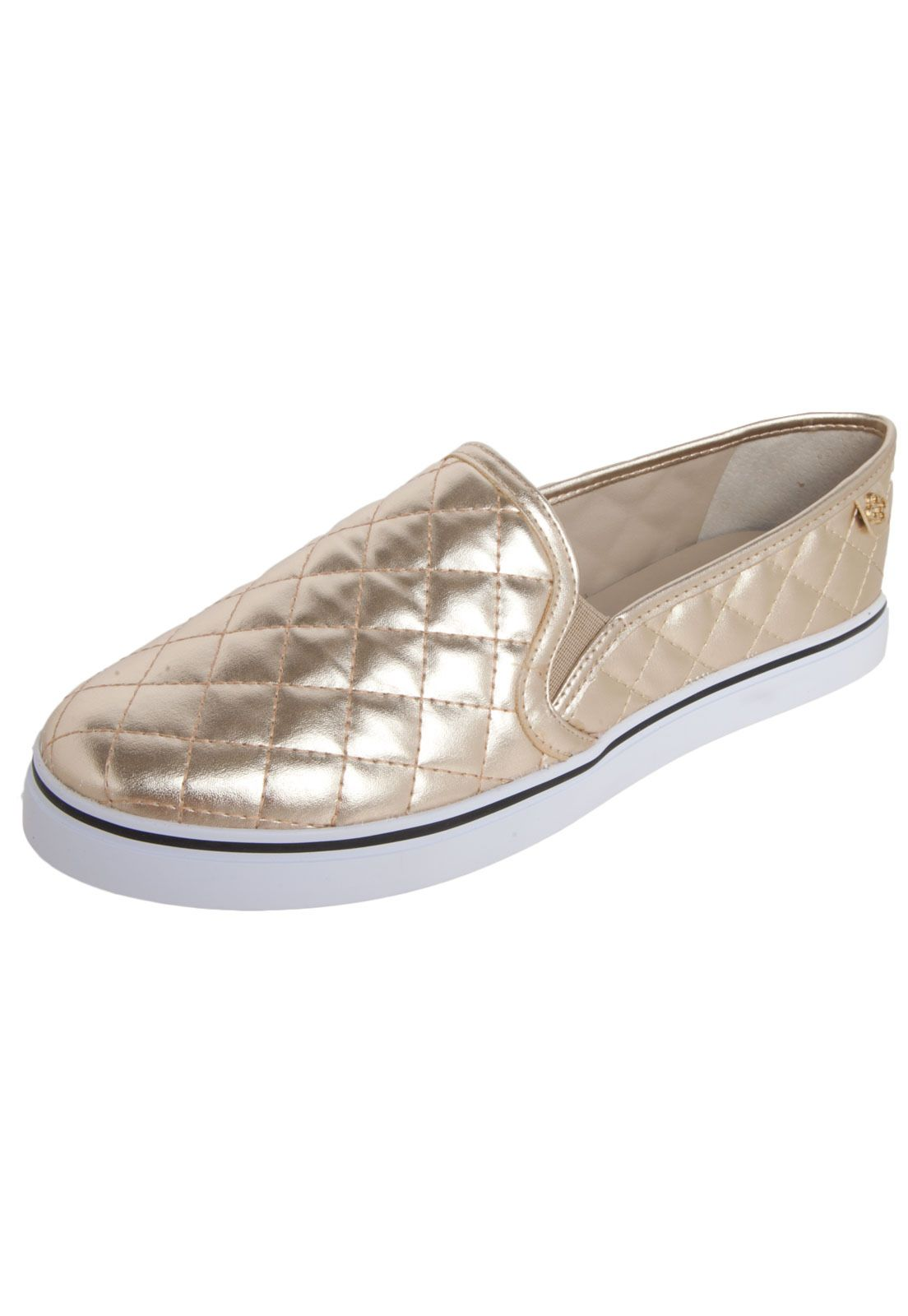 47d8665e3 Tênis Casual Capodarte Slip-on Dourado | S H O E S | Fashion shoes ...