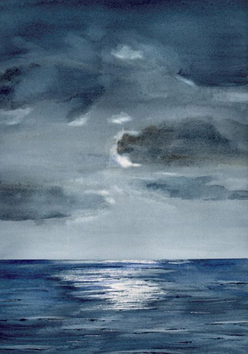 Watercolor Painting Of Moon Over Indian Ocean Ocean Drawing