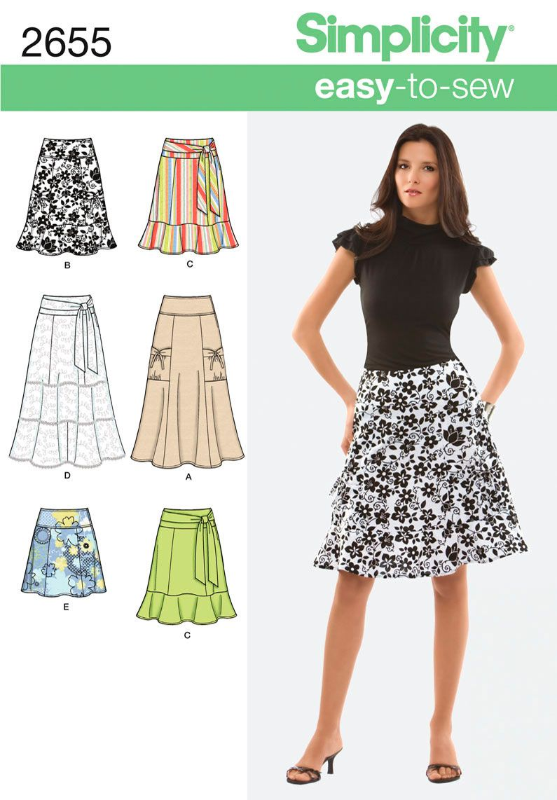 DIY Misses or Miss Petite skirt with Simplicity easy-to-sew pattern 2655. Also available as a printable pattern.