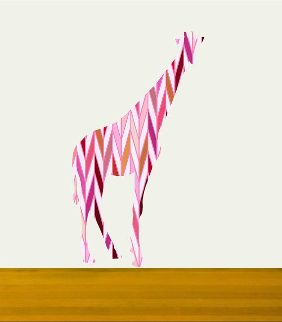 Nursery Decor Giraffe Wall Decal with pink herringbone by Popitay, $58.00