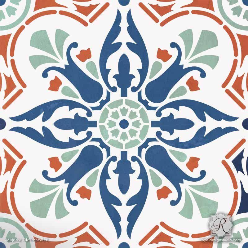 Diy Decor Idea With Painted Faux Tile Floor Patterns Majorca Stencils Royal Design