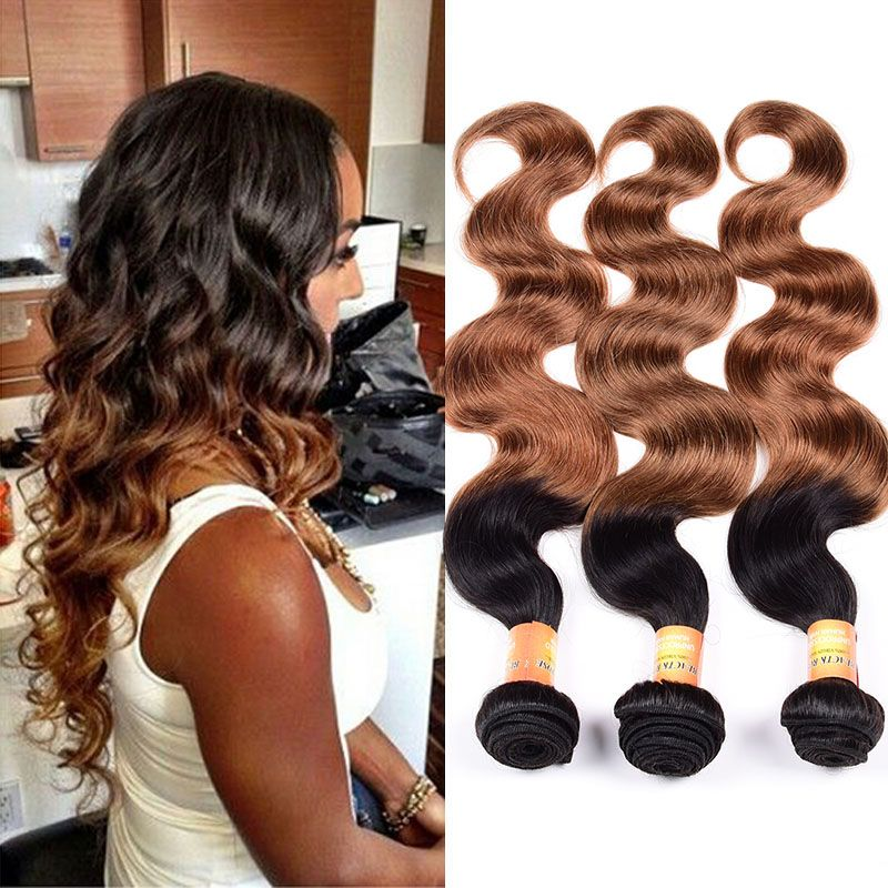 3 Bundles Brazilian Ombre Body Wave 2 Tone 7a Virgin Human Hair