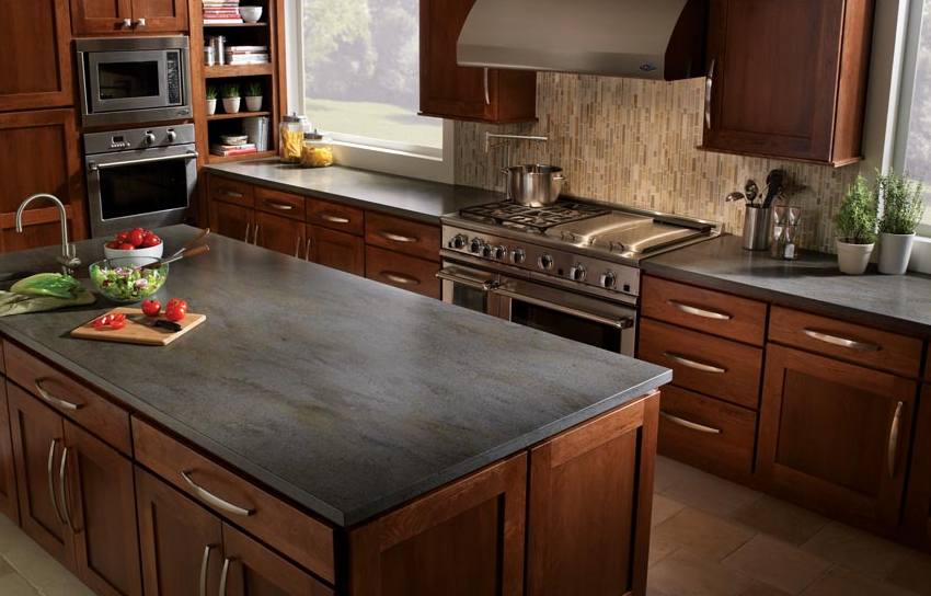 brown cabinets gray countertops google search nice look