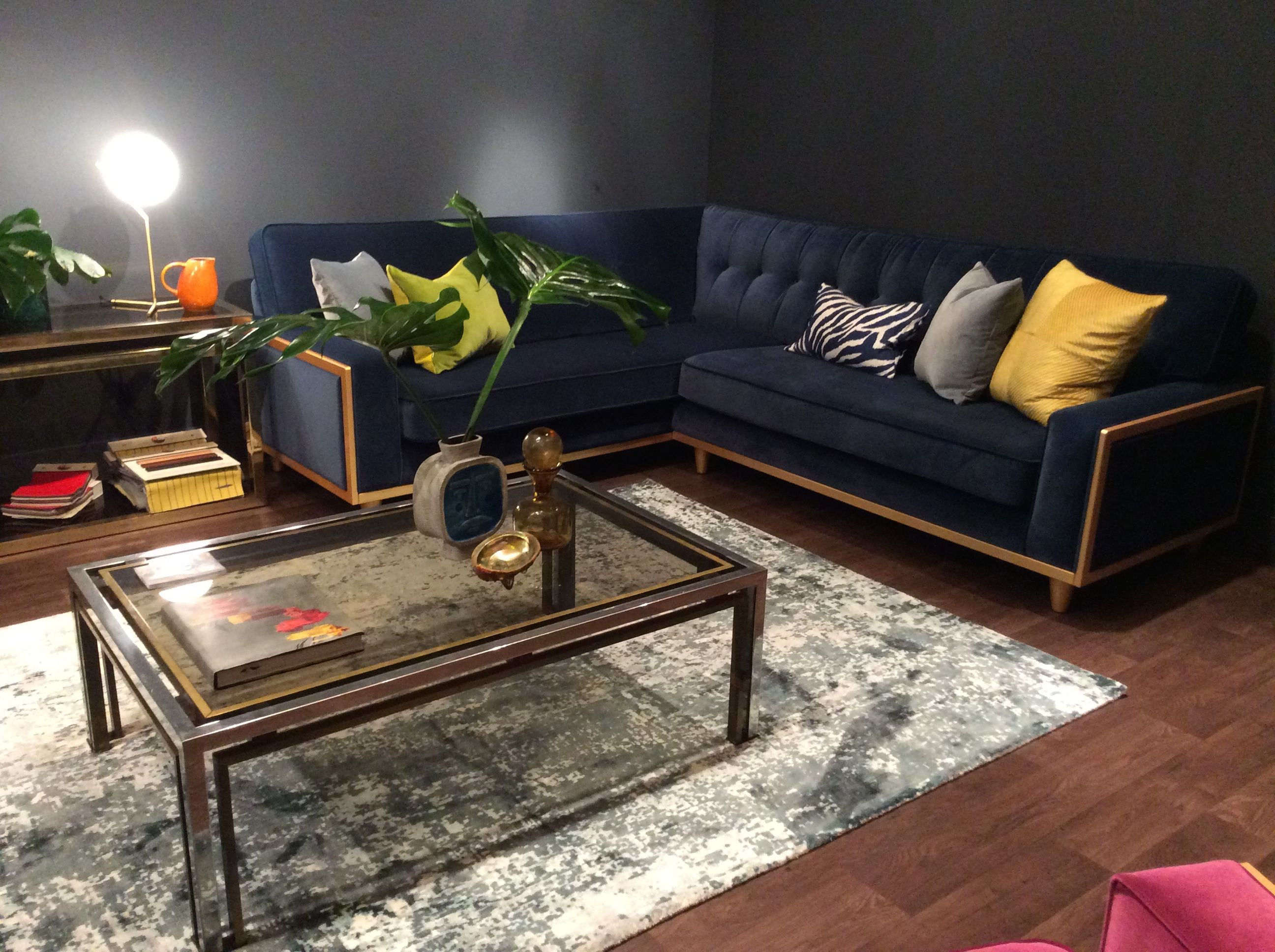 The Fifty Nine Corner Sofa in Matt Velvet Indigo on show at The