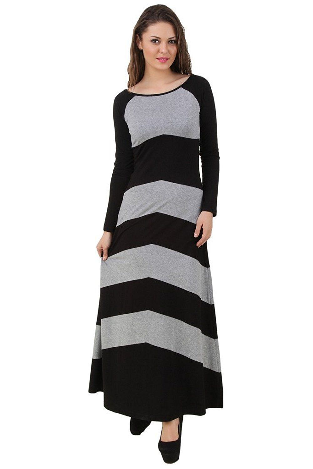 adc801610e7 Texco long grey and black maxi dress  Amazon.in  Clothing   Accessories