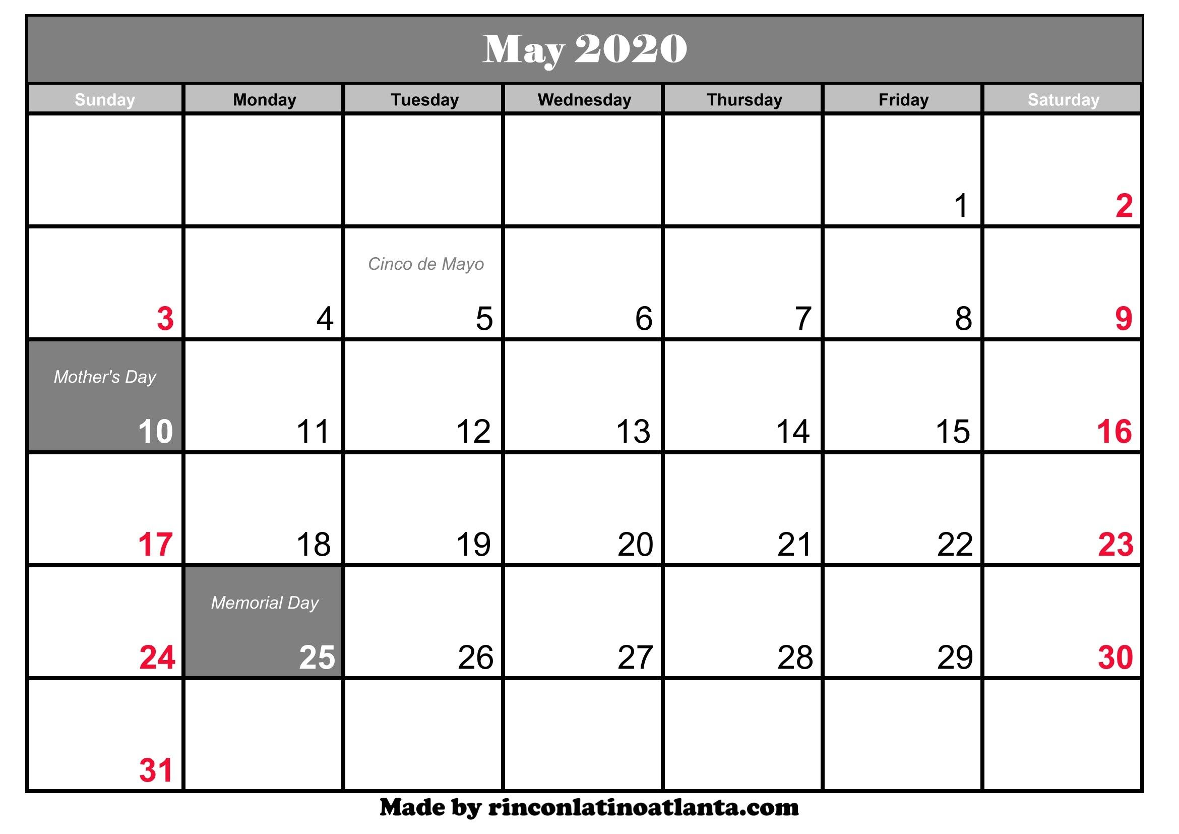 Free Printable 2020 Monthly Calendar With Holidays In 2020