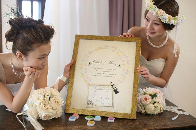 結婚誓約書タイプのウェディングツリー ビンテージモデル ゲスト参加数は50人 100人まで対応可能 結婚証明書 ウェディングツリー 結婚