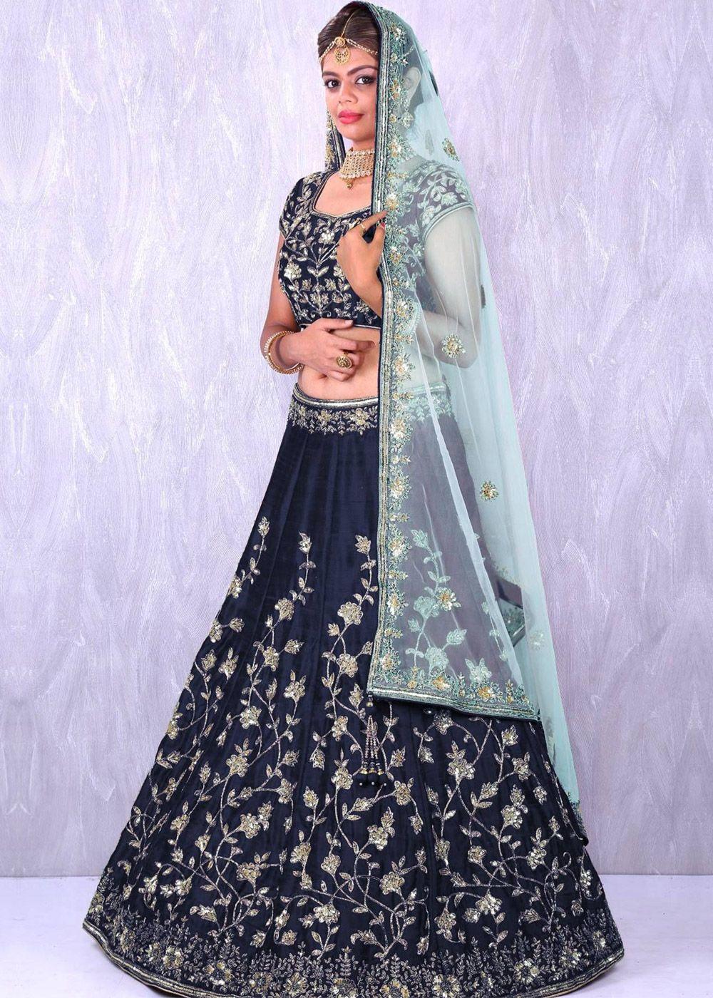 7799e43a7504f5 Panash Lehenga - Buy Navy Blue Art Silk Bridal Lehenga Choli with Dupatta  online, Work: Dori, Embroidered, Sequins, Color : Blue, Occassion : Bridal,  ...