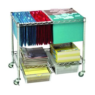 Fellows Black Metal Rolling File Cart By Precision Series