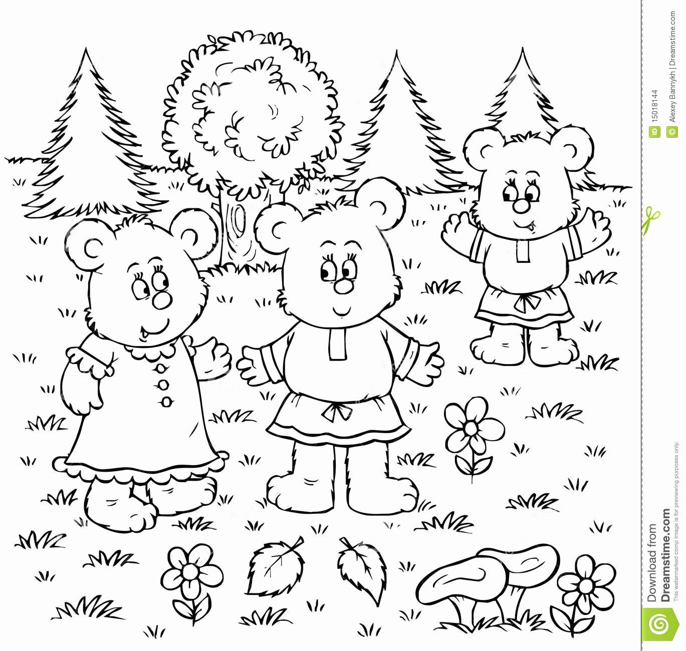 Goldilocks And The Three Bears Coloring Page Awesome Three Bears Stock Image Bear Coloring Pages Coloring Pages Goldilocks And The Three Bears
