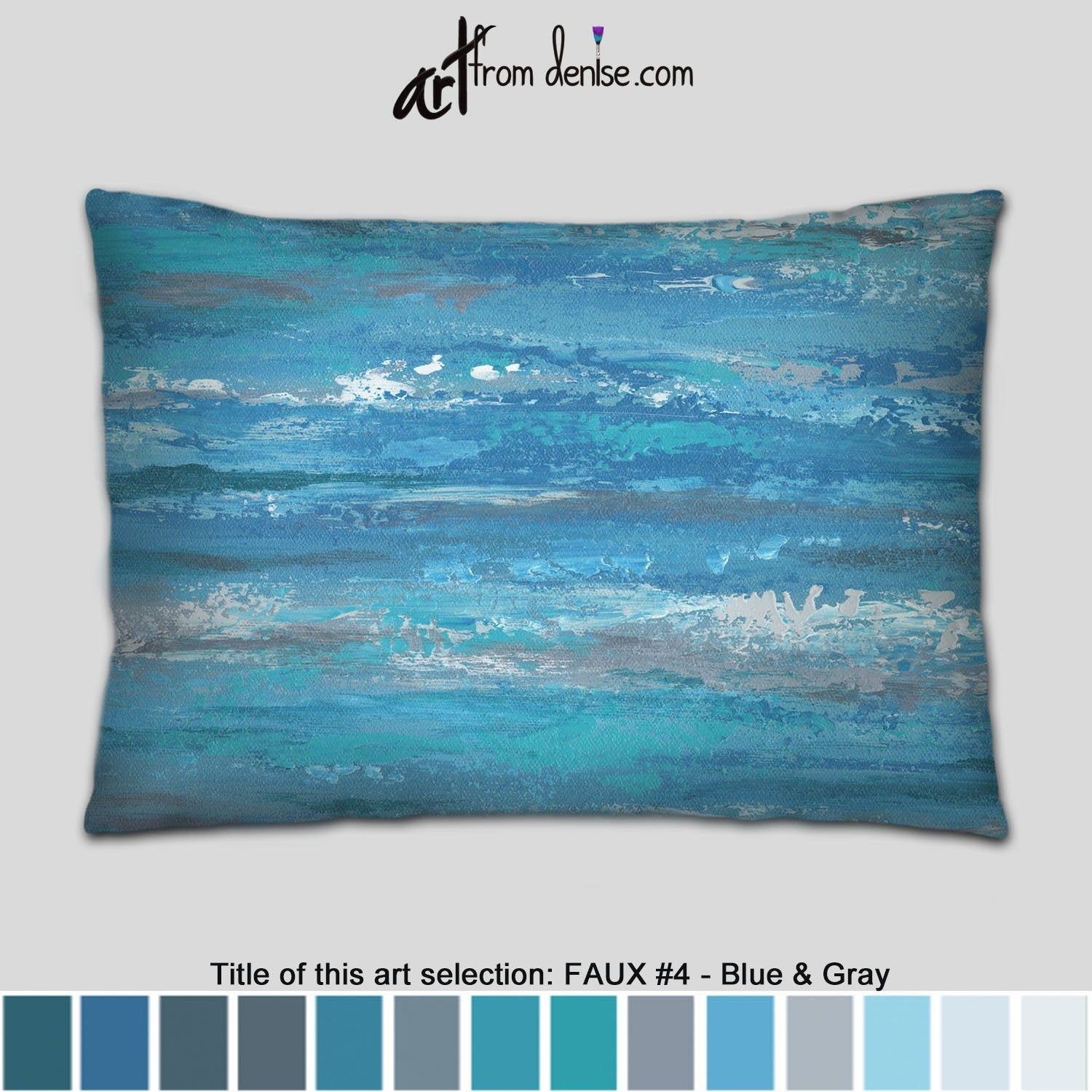 Large Blue Lumbar Pillow Gray Teal And Blue Throw Pillows For Couch Pillows Set Abstract Bed Decor Pillow Or Outdoor Lumbar Sofa Cushion In 2020 Blue Throw Pillows Pillows Pillow Set
