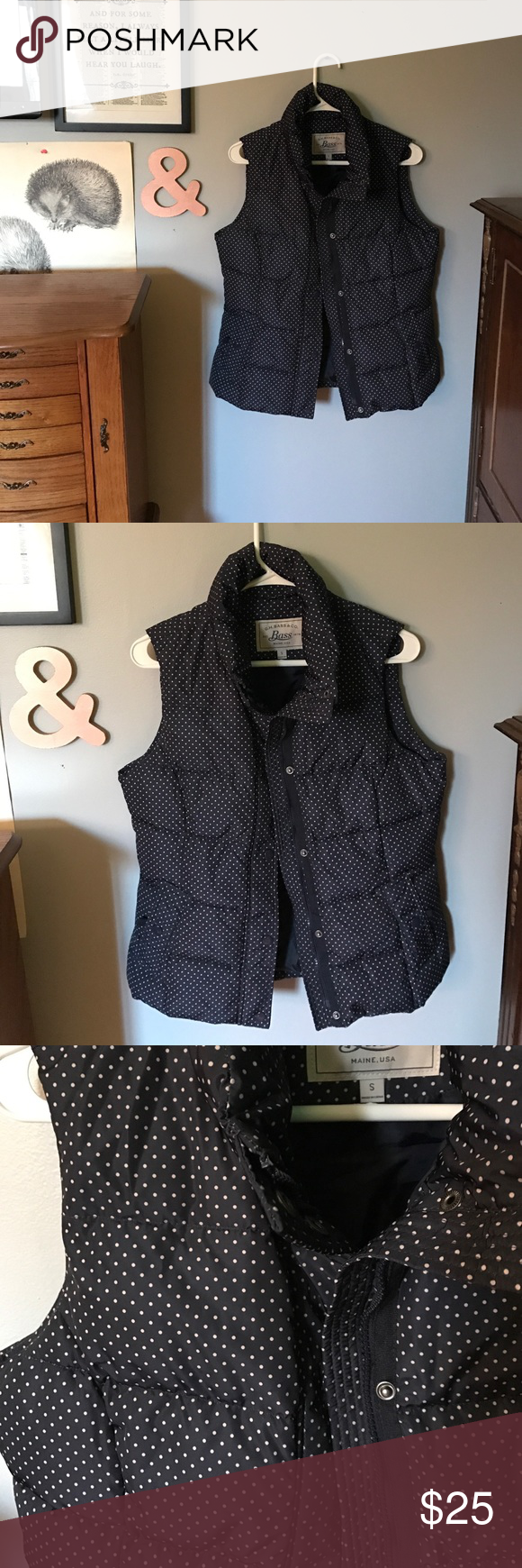 Navy Pin-Dot Vest Navy and tan pin-dot puffer vest. Very warm and cute! Bass Jackets & Coats Vests