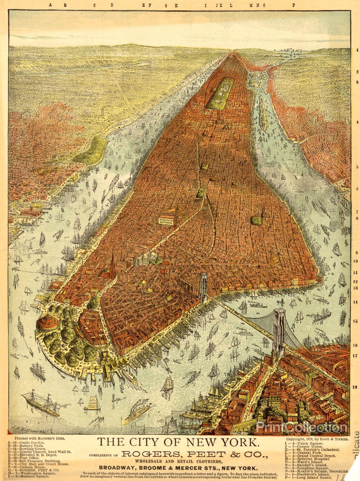 Rogers Peet Co Aerial Map Of Manhattan In 1879 Manhattan Map