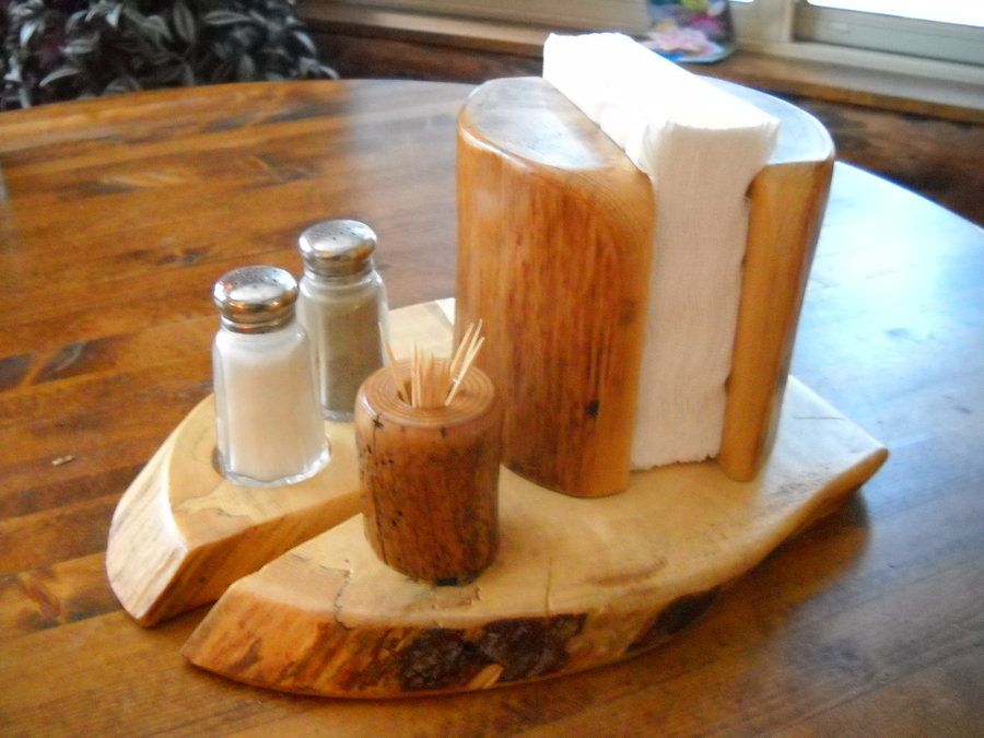 Wooden Napkin Holder With Salt And Pepper Shakers