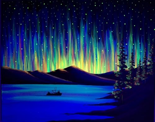 Learn To Paint Black Light Northern Lights The Way Tonight At Paint Nite Our Artists Know Exactly How T Northern Lights Painting Light Painting Oil Pastel Art
