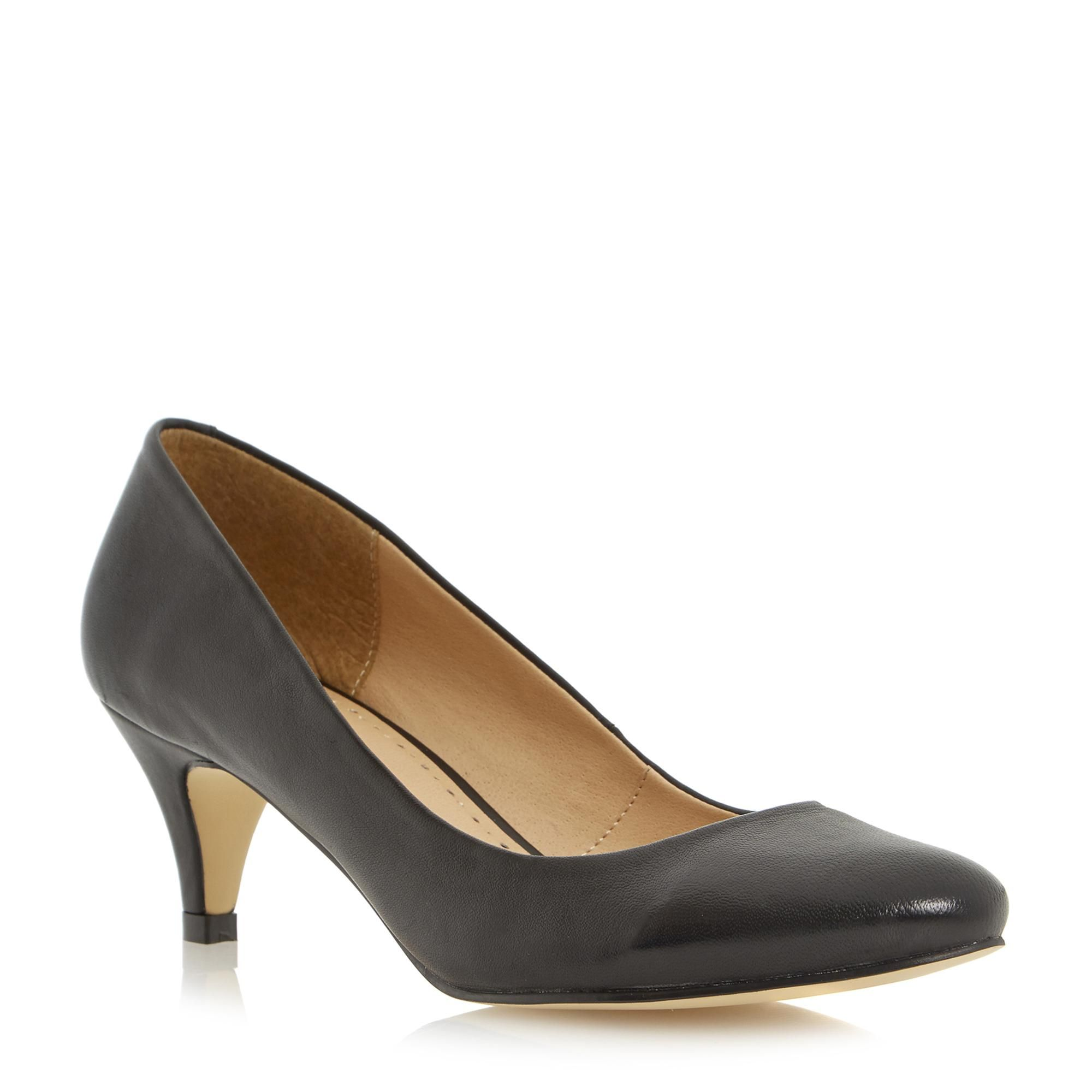 Low Heel Leather Round Toe Court Shoe