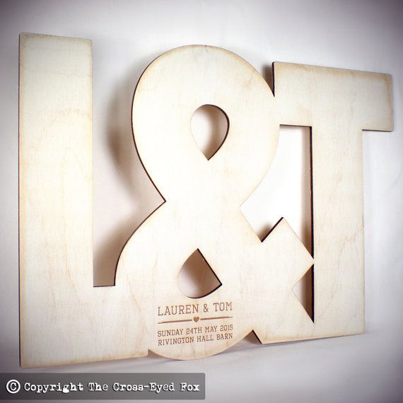 Wooden Initials Wedding Guest Book by TheCrossEyedFox on Etsy