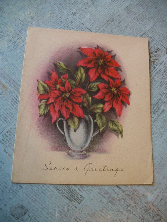 CLEARANCE Vintage 1940's Christmas Card  Seasons by GadzooksGladys
