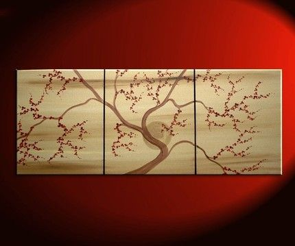 48x20 Custom Golden Cherry Blossom Painting Deep Red Flowers Zen Art Cherry Blossom Painting Tree Art Tree Branch Wall Art