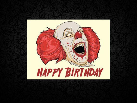 Pennywise The Clown Printed Birthday Card By GhastlyGreetings