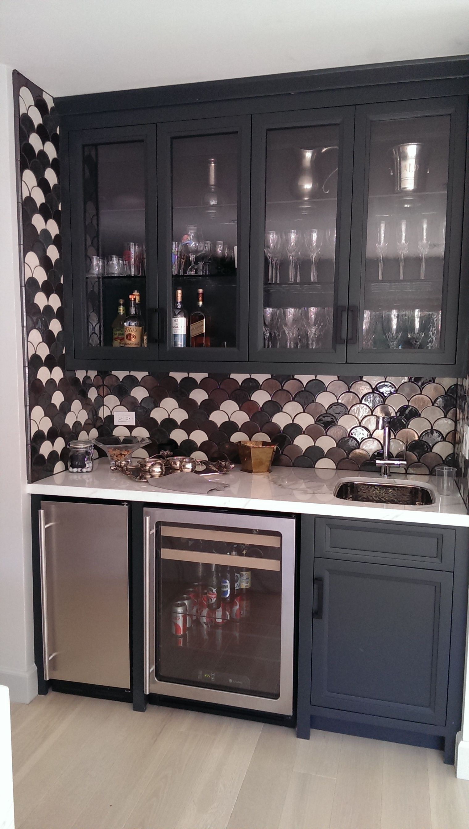 Custom Built In Wet Bar With A Sink Fridge And Freezer Wet Bar Basement Wet Bar Designs Wet Bar Sink