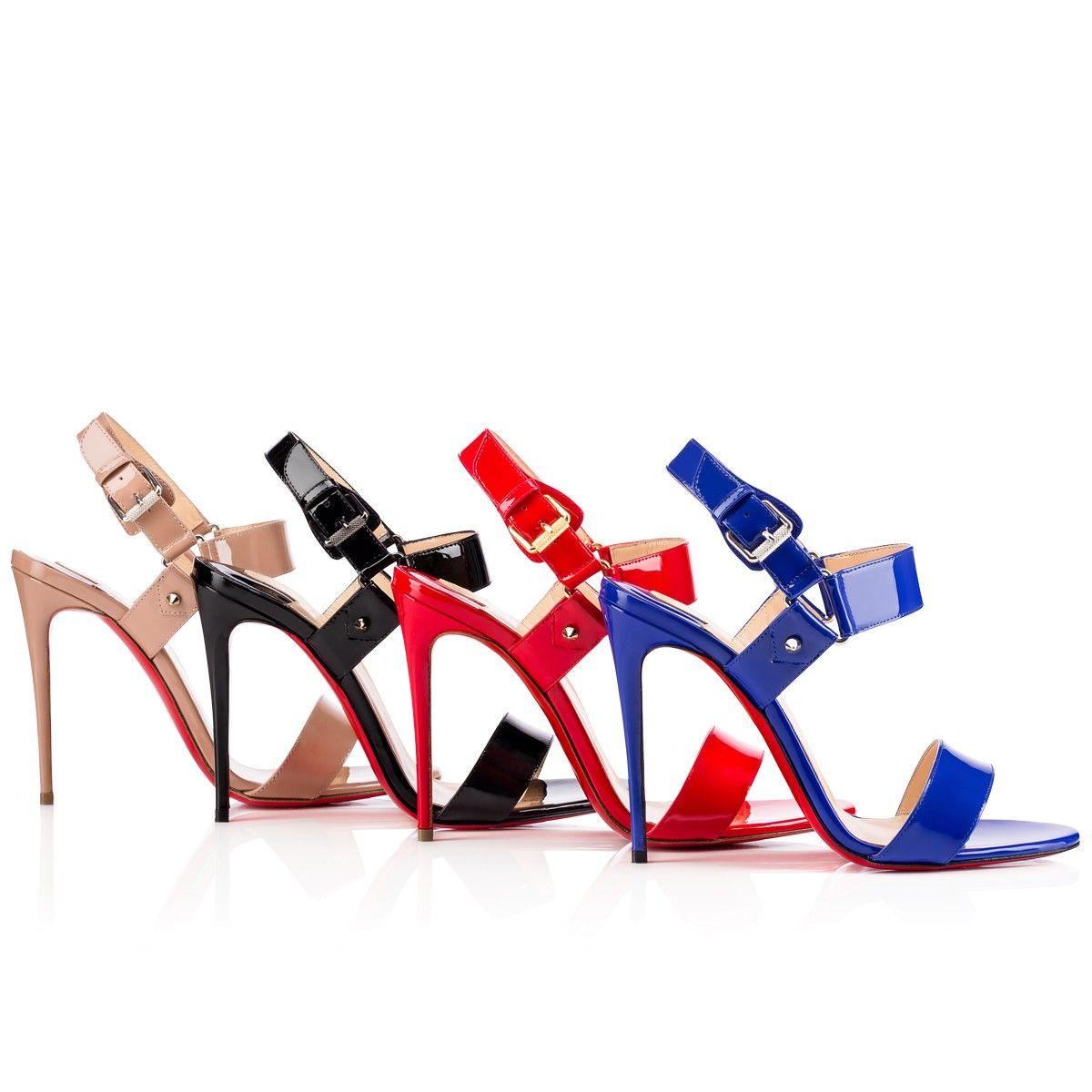 Black sandals louboutin - Sova Heel 100 Black Patent Leather Women Shoes Christian Louboutin
