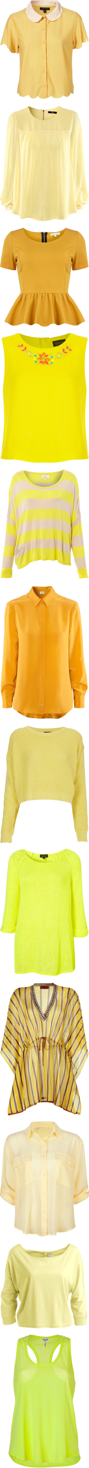"""Yellow tops"" by melodynov3rd ❤ liked on Polyvore"