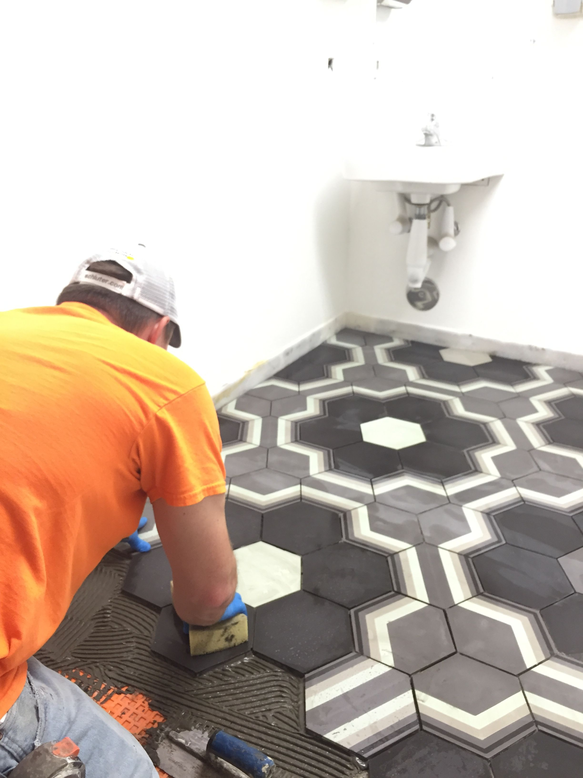 Fantastic encaustic tile install in process.  Love, love the gorgeous tile from Archipelago Tile by Stephanie Dyer.