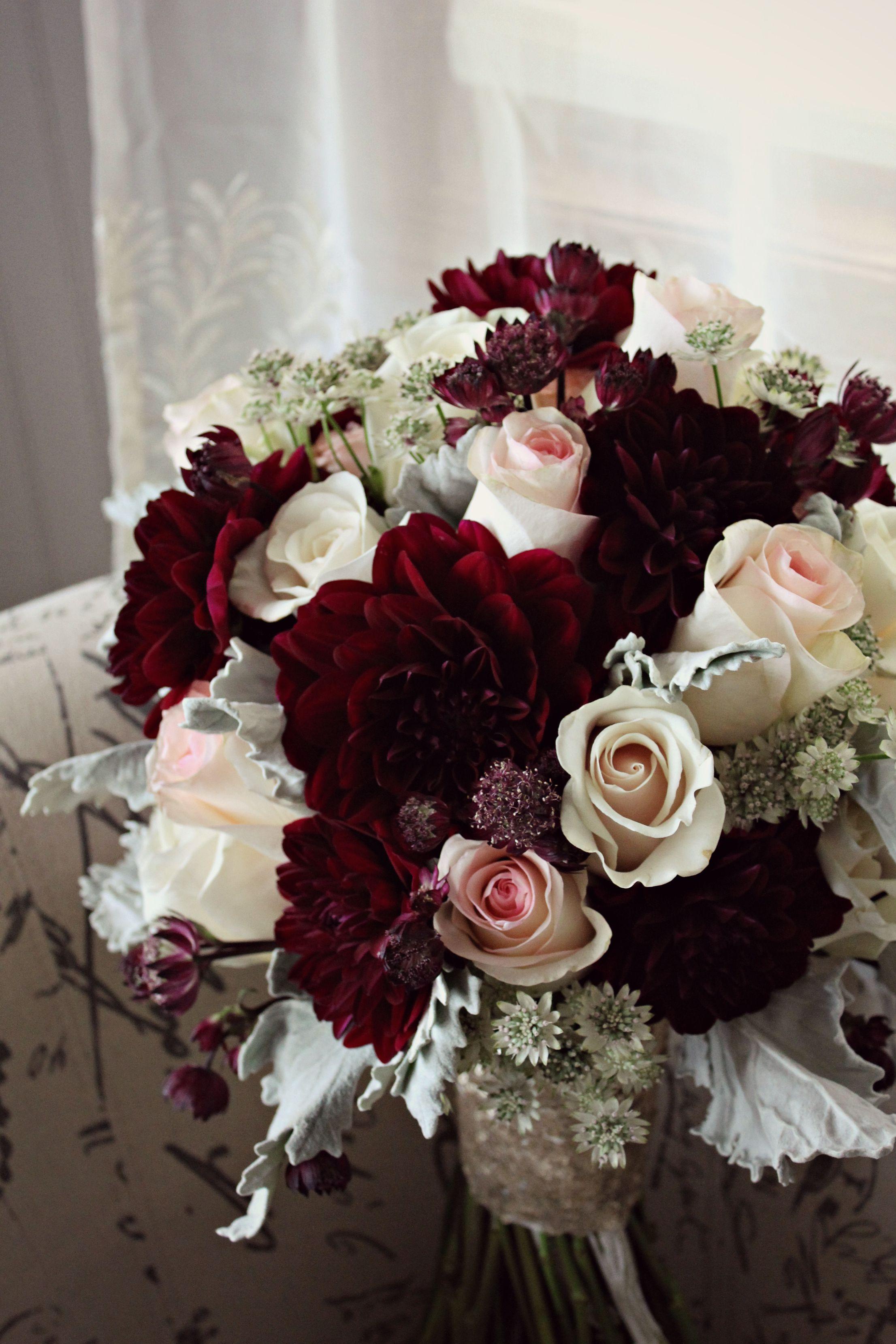 Stunning Burgundy Blush And Champagne Wedding Bouquet