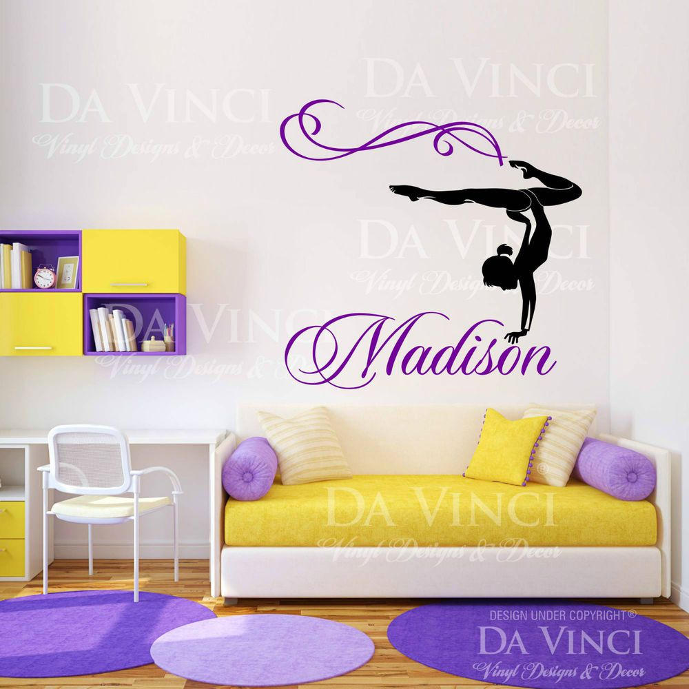 Personalized Girl Name Gymnast Gymnastics Dance Vinyl Wall Decal - Custom vinyl wall decals dance