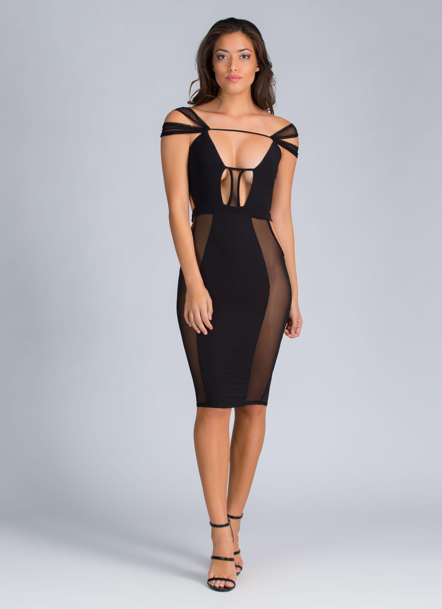 Sheer Brilliance Cut-Out Mesh Dress BLACK BLUSH - GoJane.com ...