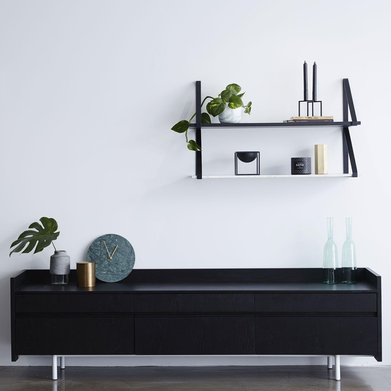 Design furniture online - Black Stained Ash Black Wooden Scandinavian Sideboard Or Buffet Urban Couture Designer Homewares Marble Shelffurniture Onlinecarrara