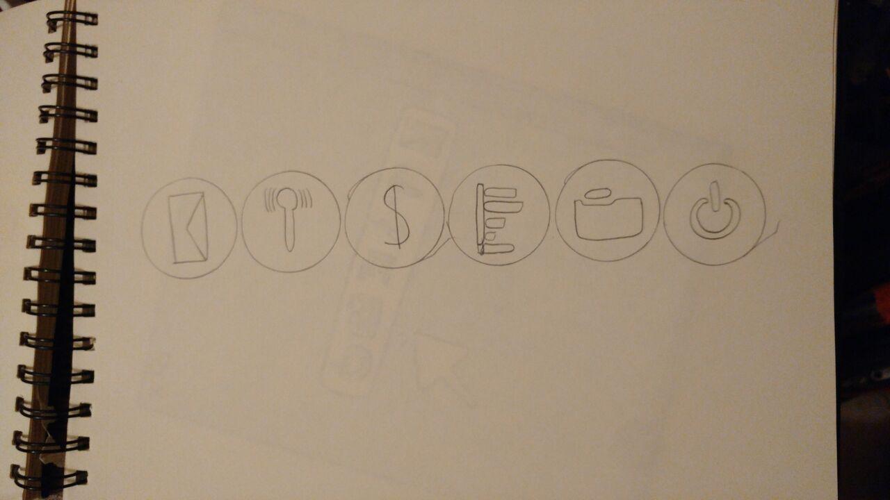 Otro boceto para el bloc, en este caso utilicé los logos para poner la palabra 'diseño'.