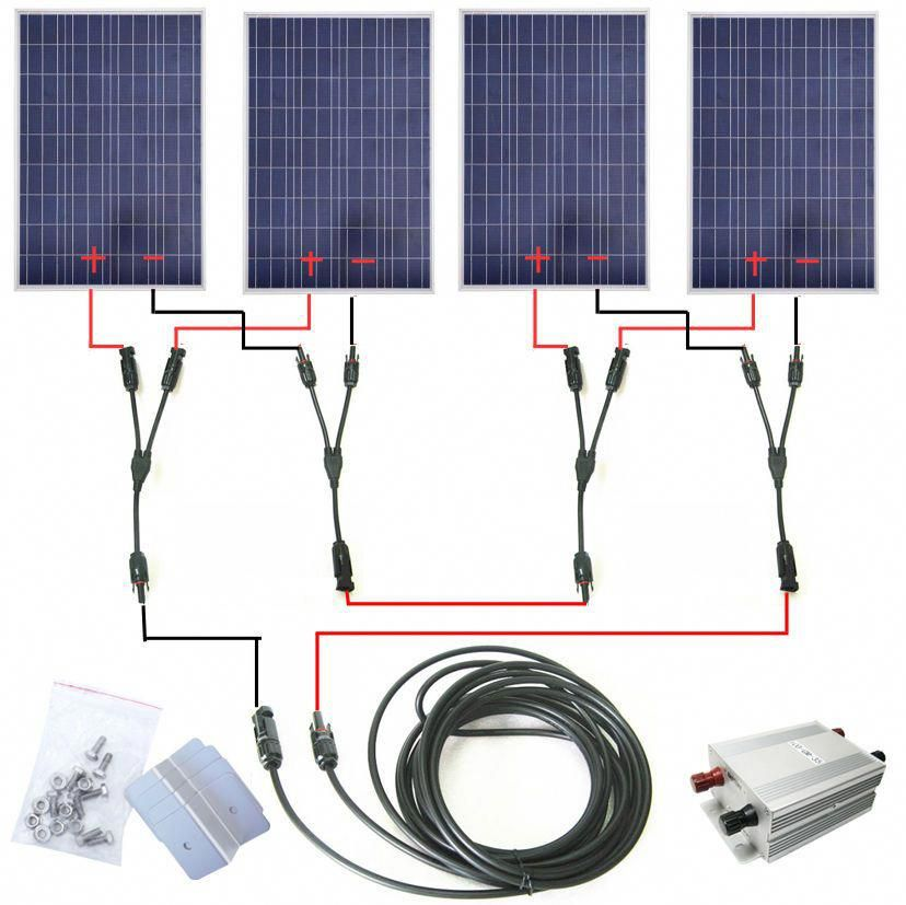 Complete Kit 100w 200w 300w 400w 500w 600w Solar Panel System 12v Car Battery In Home Furniture Diy Diy Materials S Solar Panels Solar Heating Solar Roof