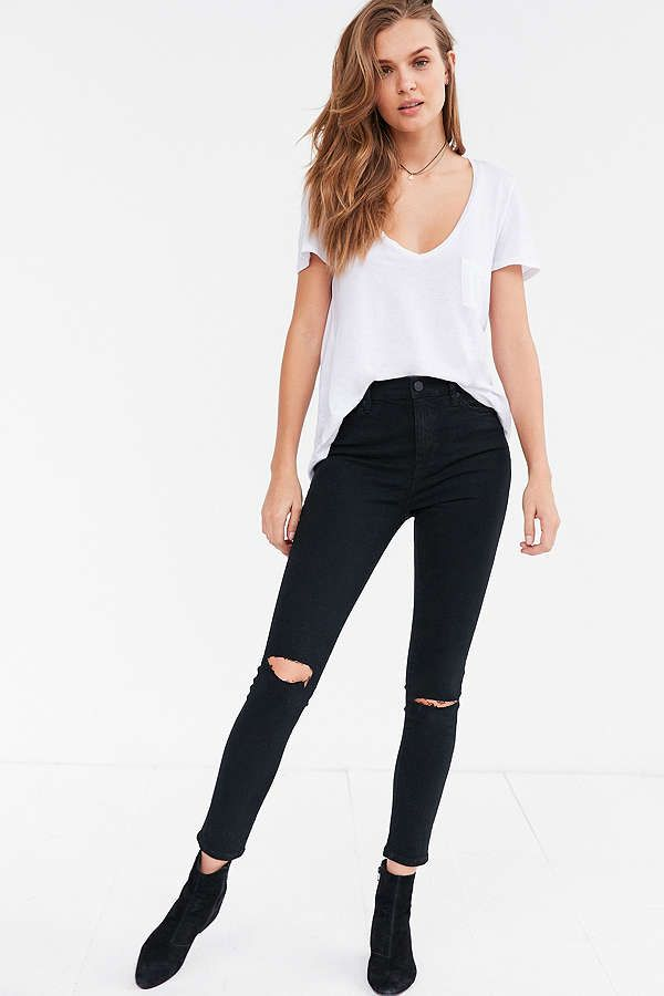 River Island High Rise Jeans Neri