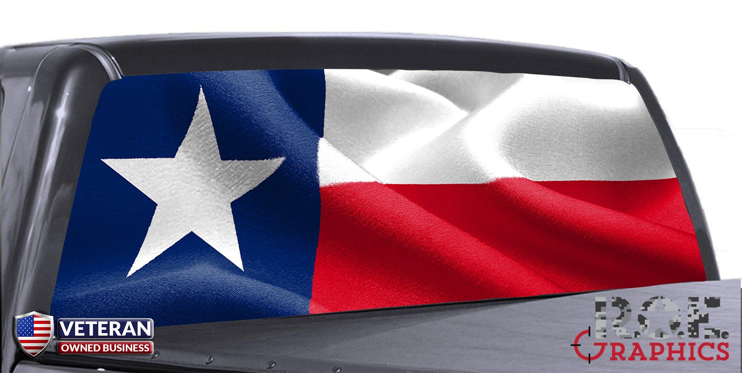 Texas State Flag Waving Universal Truck Rear Window 50 50 Perforated Vinyl Rear Window Texas Flag