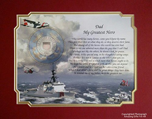 Coast Guard Gift For Dad My Greatest Hero Sentimental Poem Fathers Day Veterans Birthday Military