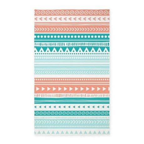 Coral Teal Tribal Vintage Stripes 3'x5' Area Rug images